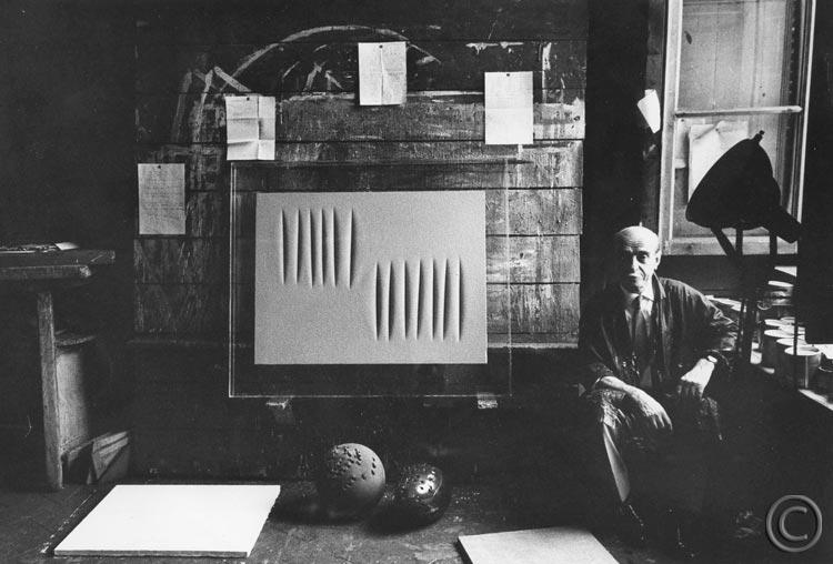 lucio fontana milan studio 1961